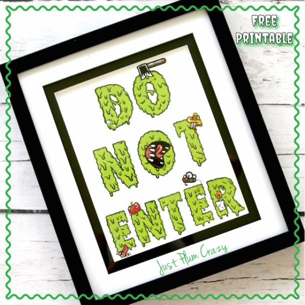 """You can use the Creepy Free Printable Sign """"Do Not Enter"""" as part of your Halloween display or the kids can even use it on their door!"""
