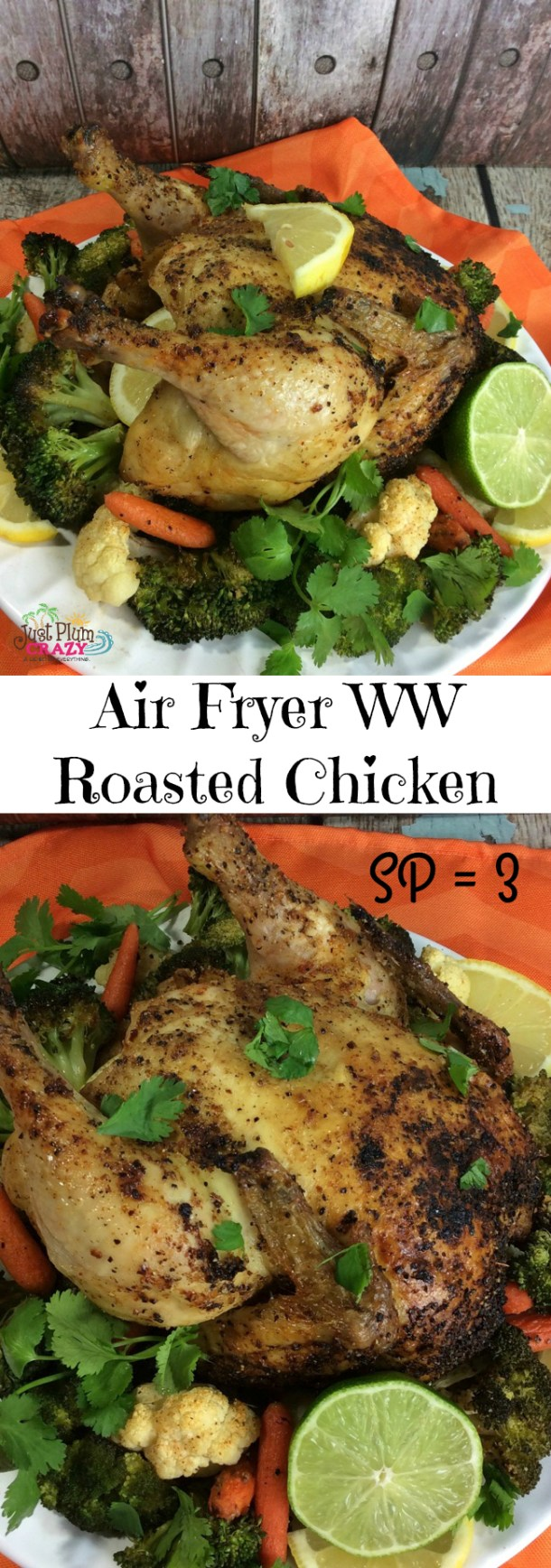 Today we are making an Air Fryer Weight Watchers Roasted Chicken Recipe. It's moist, cheap, filling and did I mention yummy!