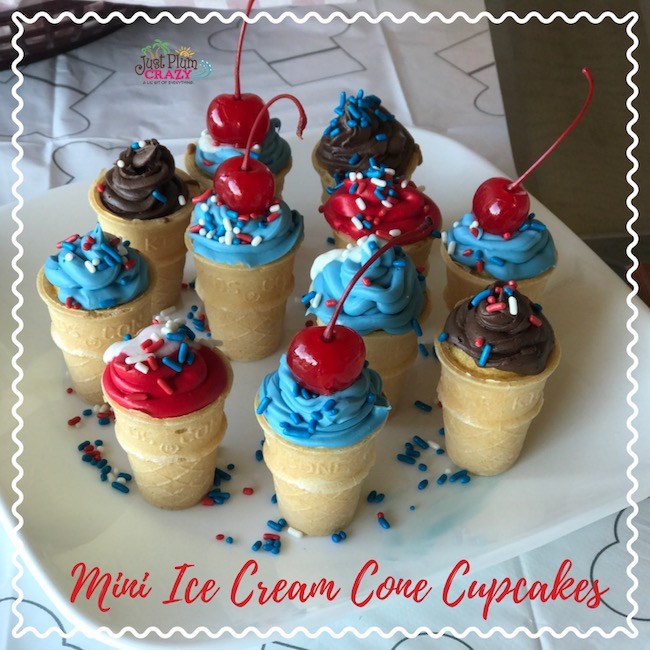 Mini Ice Cream Cone Cupcakes recipe fit right in with our Country-Fried Krystal BBQ party. You know, Krystal sandwiches, mini sandwiches?