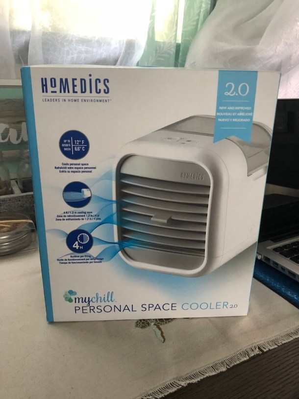 HoMedics MyChill Personal Space Cooler features 2 speeds, an adjustable vent, and Clean Tank Technology to keep it mold- and mildew-free.