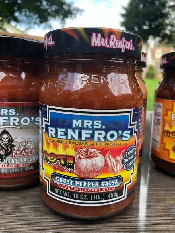 Mrs. Renfro's Ghost Pepper Salsa is made with the hottest pepper in the world...the Habanero Pepper. It's HOT but it will have you coming back for more.