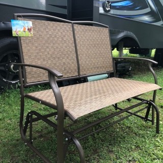 The Naturefun Patio Glider Loveseat is easily put together. The Rattan fabric is hard wearing, tear and crack resistant and is ventilated for comfort.