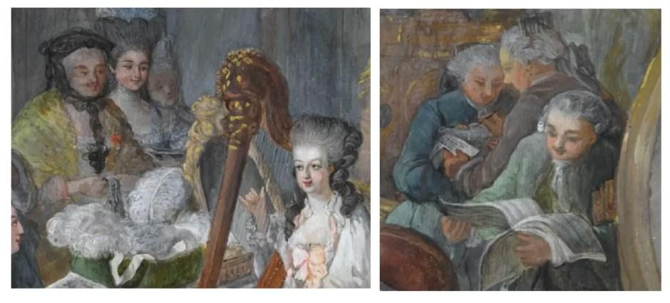 Détails du portrait de Marie-Antoinette jouant de la harpe, peinte par Jean-Baptiste Gauthier-Dagoty