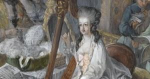 Marie-Antoinette à la harpe, par Gauthier-Dagoty