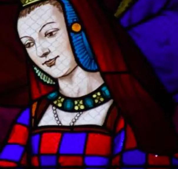 Détail d'un vitrail de XVIème siècle à l'effigie d'Anne de Bretagne – Eglise de Saint-Malo, Dinan