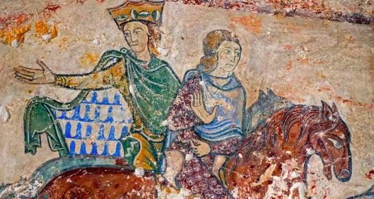 Peinture murale fin XIIème siècle, retrouvée dans la chapelle de Sainte-Radegonde à Chinon (on peut voir Aliéner et sa fille Jeanne)