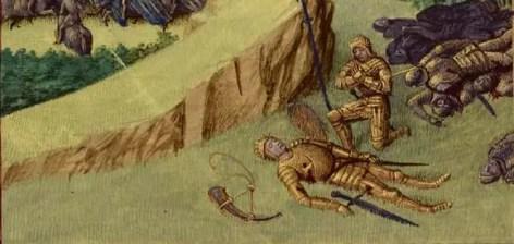 Enluminure par Jean Fouquet représentant la mort de Roland à Roncevaux, Grandes Chroniques de France (1455-1460) - BnF