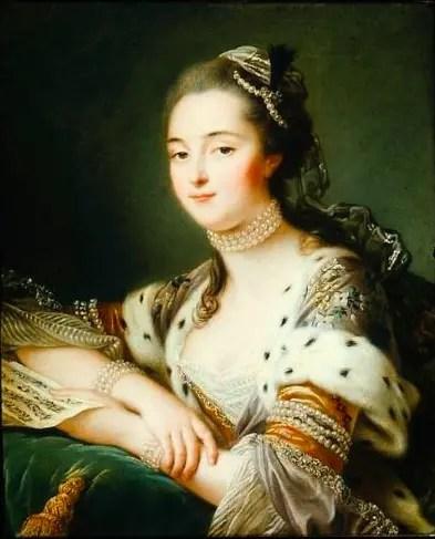 Mlle de Romans, d'après François-Hubert Drouais - 1762 (dit auss portrait de Marguerite-Catherine de Haynault)