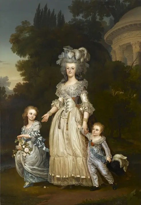 Copie par Eugène Bataille du portrait peint par Wertmüller représentant Marie-Antoinette avec ses enfants Madame Royale et Louis-Charles - Musée du château de Versailles