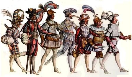 Costumes de personnages burlesques pour le ballet des fêtes de Bacchus