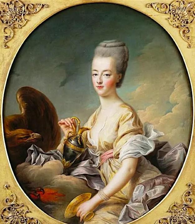 Marie-Antoinette en Hébé (déesse de la jeunesse et de la vitalité), par Drouais en 1773 (Musée Condé)
