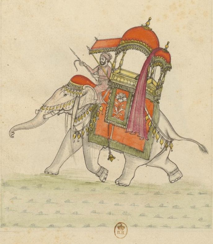 """Peinture """"Eléphans, Palanquins et autres usages Indiens : Dessinés dans le pays, par des Européens (1770) - Gallica BNF"""