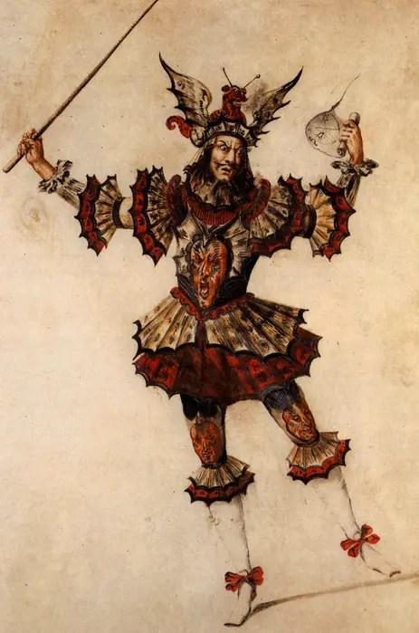 Projet de costume pour un magicien dans le ballet Les noces de Thétis et de Pelée