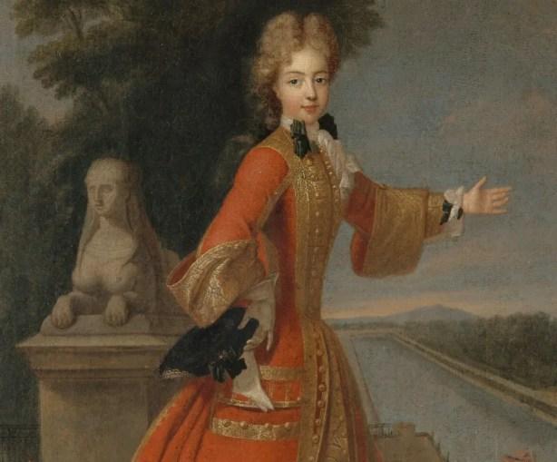 Détail d'un portrait d'Adélaïde de Savoie en tenue de chasse devant le canal de Fontainebleau, réalisé par Pierre Gobert (Musée du château de Versailles)