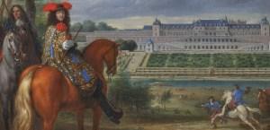 Détail d'un tableau de Van der Meulen : Louis XIV, suivi de Turenne, assistant à une chasse au vol, en vue du Château-Neuf de Saint-Germain-en-Laye, en 1669 - Collections du château de Versailles