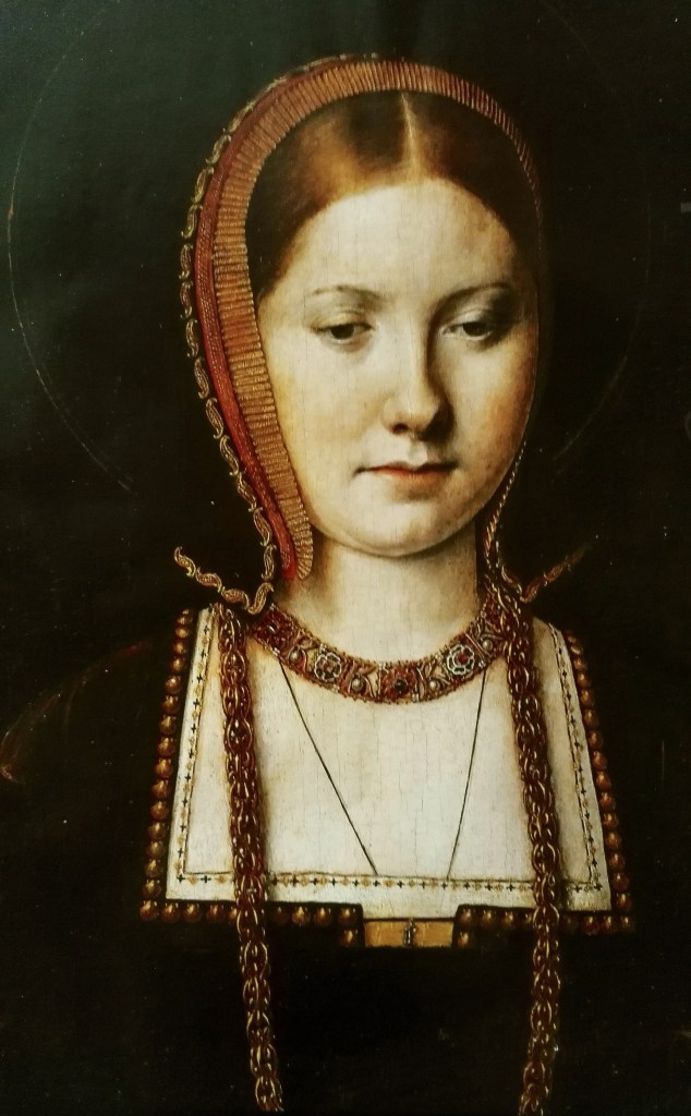 Longtemps considéré comme un portrait de Catherine d'Aragon, la première femme de Henri VIII, ce portrait réalisé par Michel Sittow est à présent considéré comme celui de Mary Tudor, sa soeur - Kunsthistorisches Museum, Vienne