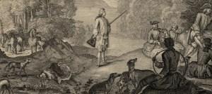 Louis XV à la chasse, détail d'une estampes de Louis Surugue, collections du château de Versailles