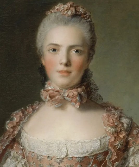 """Adélaïde """"faisant des noeuds"""", peinte par Nattier en 1756 (détail) - château de Versailles"""
