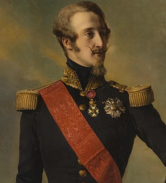 Le duc de Nemours par Winterhalter (détail) en 1843 - Versailles