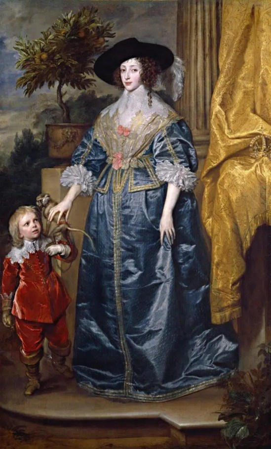 La Reine Henriette-Marie avec Jefffrey Hudson en 1633, par Van Dyck
