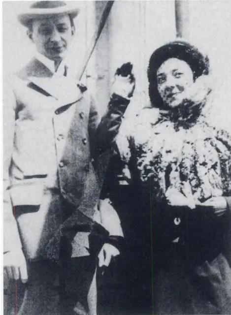 Ziegfeld et Anna lors de l'arrivée de cette dernière en Amérique le 15 ocotbre 1896 (Courtesy of Martensen, Isola family)