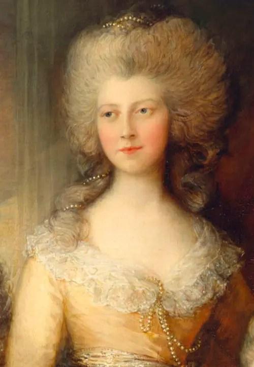Détail d'un tableau de Thomas Gainsborough où Charlotte est représentée avec ses soeurs Augusta et Elizabeth (Collection Elizabeth II)