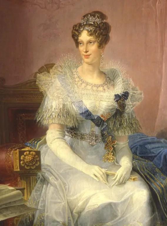 Ce portrait a été peint tardivement par Giovan Battista Borghesi en 1839 : le peintre rajeunit de 10 ans Marie-Louise et la représente quand elle gouvernait le duché de Parme avec Neipperg (Galerie nationale de Parme)