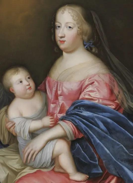 Marie-Thérèse et le Dauphin, par Simon Renard de Saint-André (détail d'un tableau où la Reine est représentée avec sa belle-mère Anne d'Autriche) Collection du château de Versailles