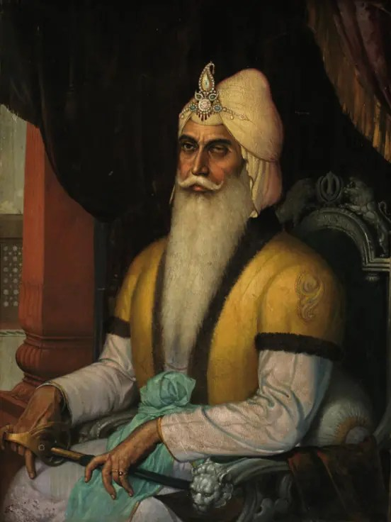 Portrait du maharaja Ranjit Singh, le Lion du Pendjab, par l'artiste Sobha Singh.