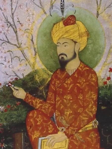 Détail d'une représentation de Babur par l'école moghole (1640 - Musée Guimet)