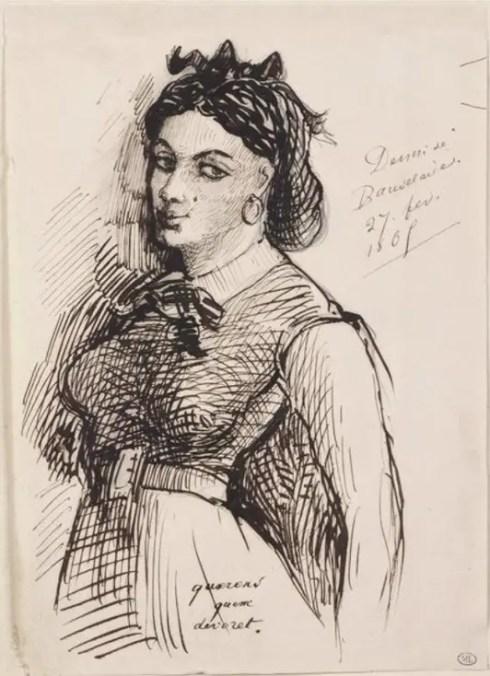 Dessin de Jeanne par Baudelaire - Conservé au Louvre