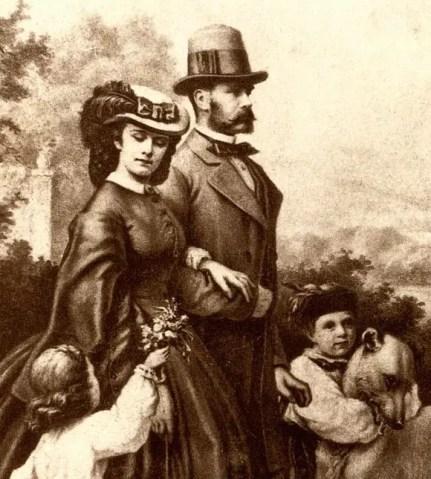 François-Joseph, Sissi et leurs deux aînés d'après une photographie de 1862.