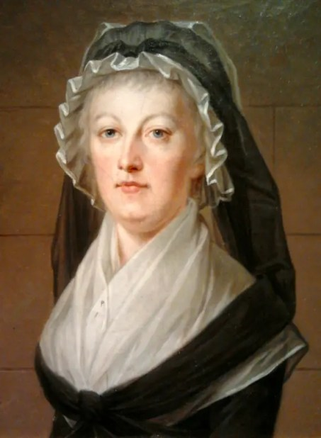 Marie-Antoinette prisonnière à la tour du Temple, en robe et bonnet de veuve, février ou mars 1793 par Alexandre Kucharski (collection particulière)