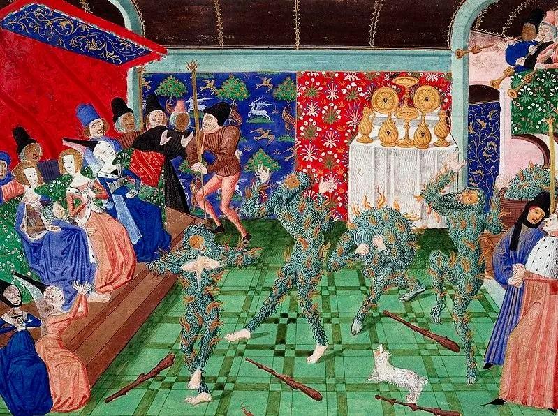 Le Bal des ardents, miniature du XVeme siècle dans les Chroniques de Jean Froissart, par Philippe de Mazerolles (British Library)