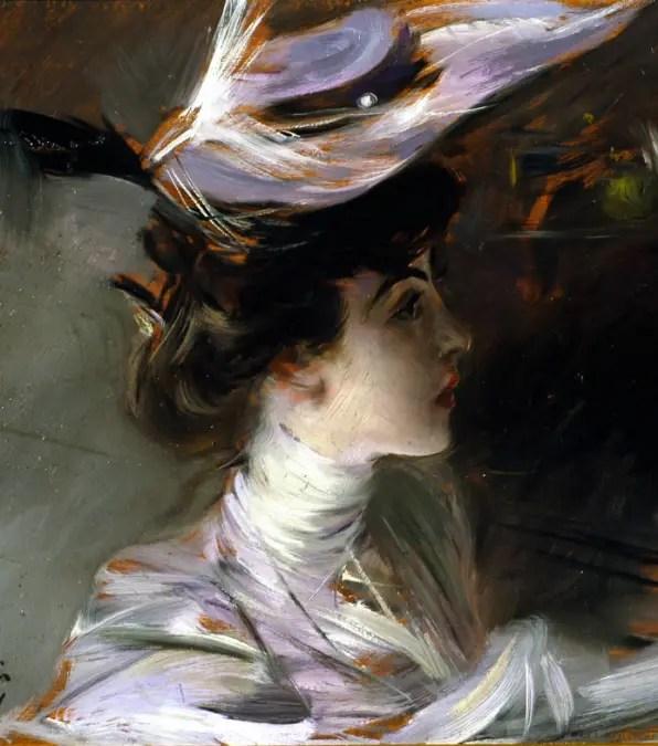 Portrait de Lina Cavalieri avec un chapeau neuf, Giovanni Boldini, Collection particulière