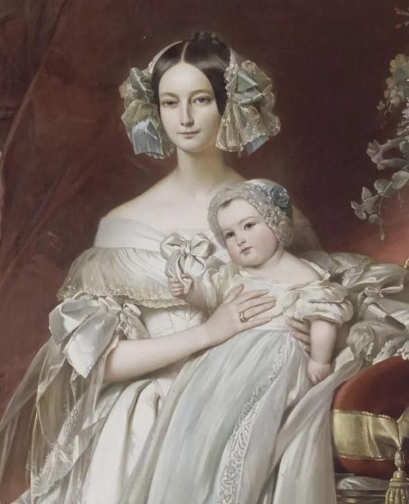 Hélène, duchesse d'Orléans avec le comte de Paris par Hermann Goldschmidt d'après Winterhalter (1848 - Fontainebleau)