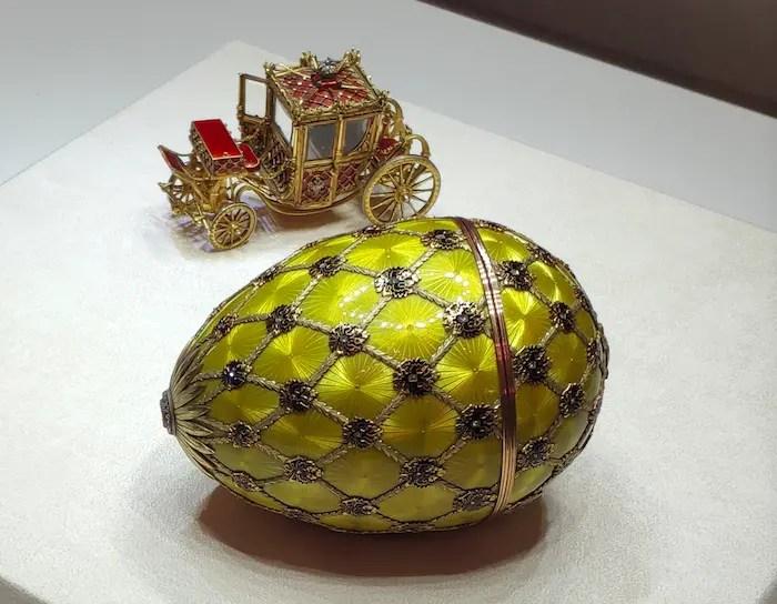 L'oeuf du couronnement (1897) fabriqué à l'occasion du couronnement de Nicolas II et Alexandra Feodorovna