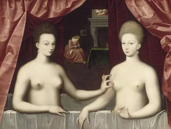 Portrait dit de Gabrielle d'Estrées, duchesse de Montceaux (droite) et de sa soeur Julienne Hyppolite d'Estrées, duchesse de Villars (gauche)