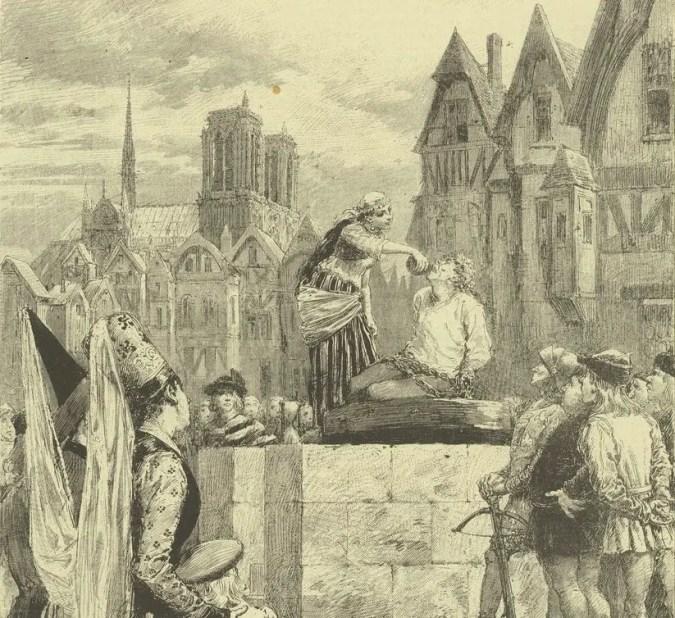 Esmeralda donnant a boire a Quasimodo - 1879 - Le Théâtre illustré, Notre-Dame de Paris, drame en cinq actes de Paul Foucher d'après le roman de Victor Hugo (en arrière-plan, Notre-Dame avec la flèche de Viollet-le-Duc, qui évidemment n'existait pas encore au moment où Victor Hugo publie son livre !