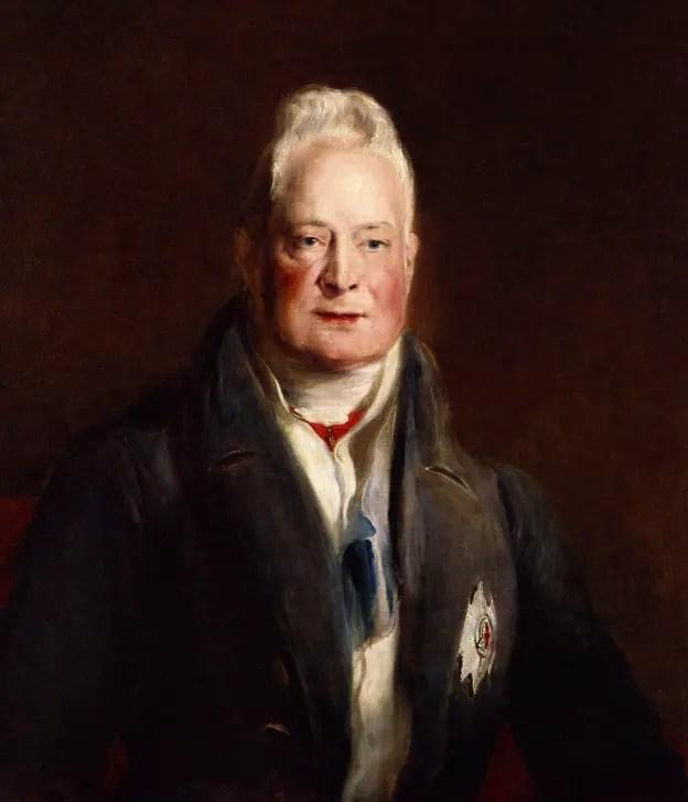 Guillaume IV (dernier oncle régnant de la future reine Victoria) par David Wilkie en 1837 - huile sur toile conservée à la National Portrait Gallery, Londres