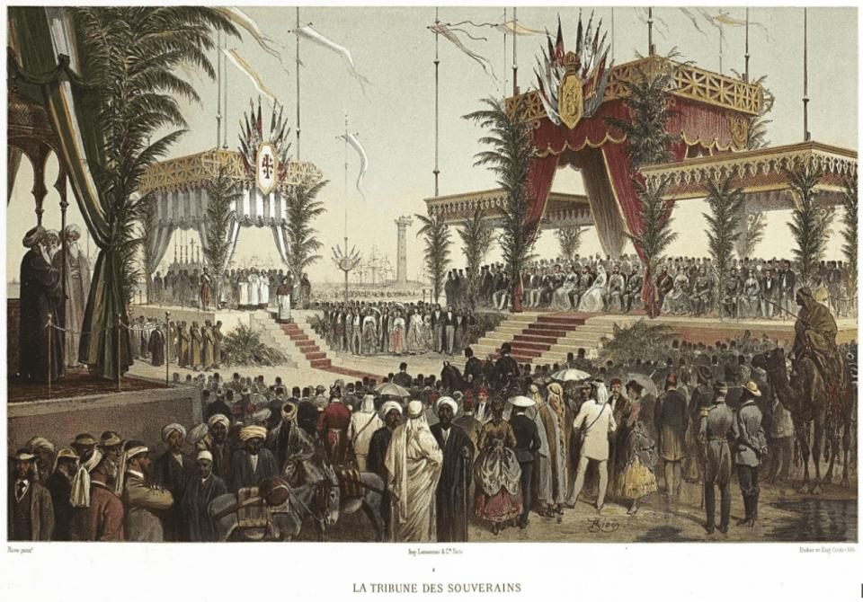 Inauguration du Canal de Suez, Voyage des Souverains - La tribune des souverains par Edouard Riou (1869)