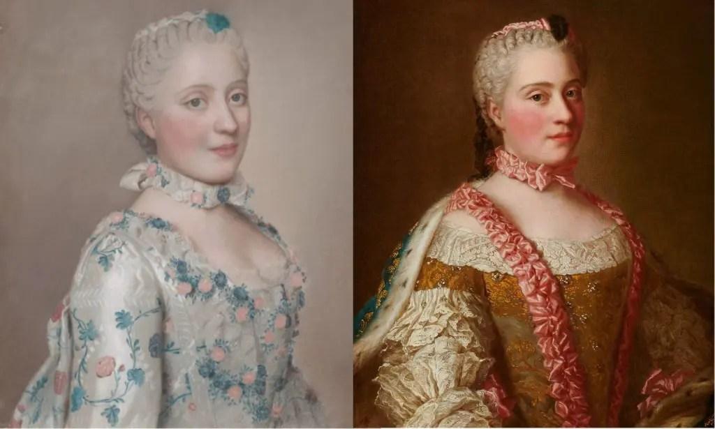 (Gauche) Pastel de la dauphine Marie-Josèphe de Saxe par Jean-Étienne Liotard / (Droite) Copie du pastel en huile sur toile par le Cabinet du roi