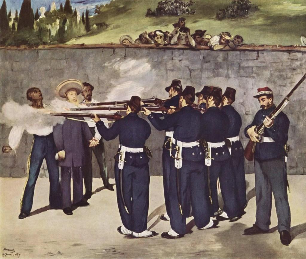L'Exécution de Maximilien par Édouard Manet - On remarque l'impassibilité sur le visage du dernier soldat, qui recharge son fusil dans un geste mécanique, sans la moindre émotion. Maximilien lui aussi aussi est impassible, le visage brouillé... face à la mort.