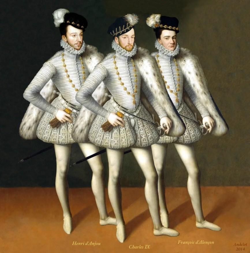 De gauche à droite : Henri III, Charles IX et François d'Alençon - Musée du Louvre