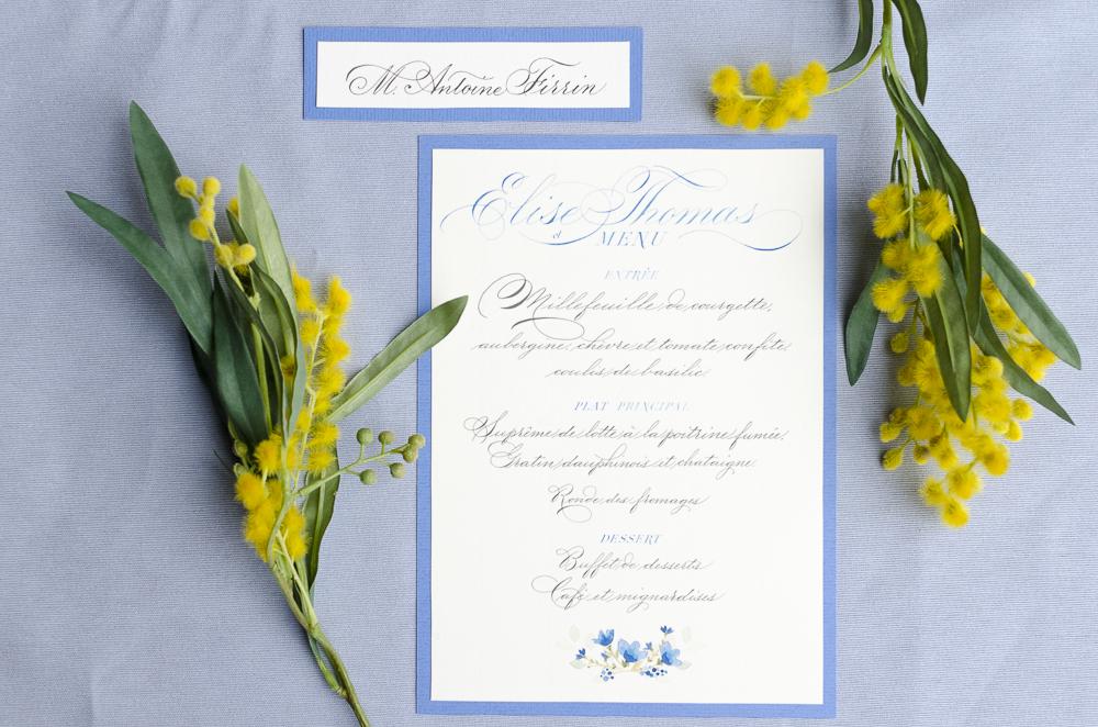 Menu mariage calligraphie