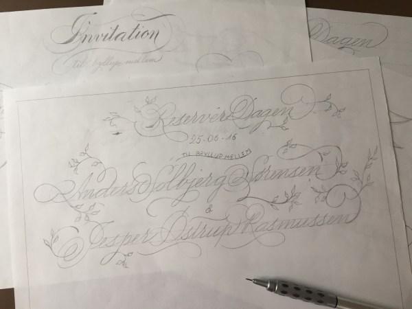 Calligraphy inivtation sketch