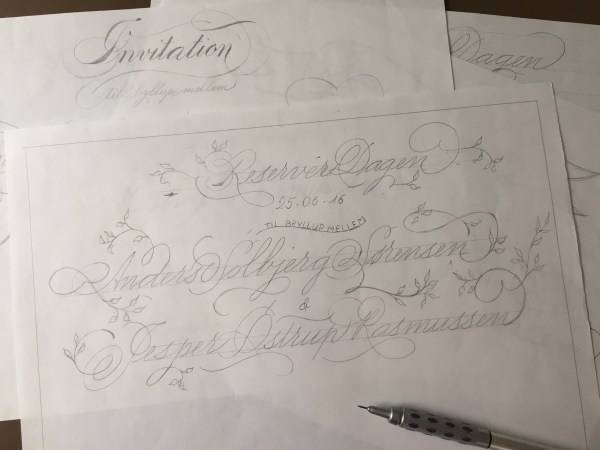 Calligraphy inivtation sketch
