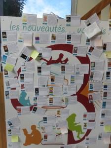 """Du collaboratif : Des fiches """"nouveautés"""" que le lecteur est invité à critiquer sur des post-it - Bibliothèque de Trégastel"""