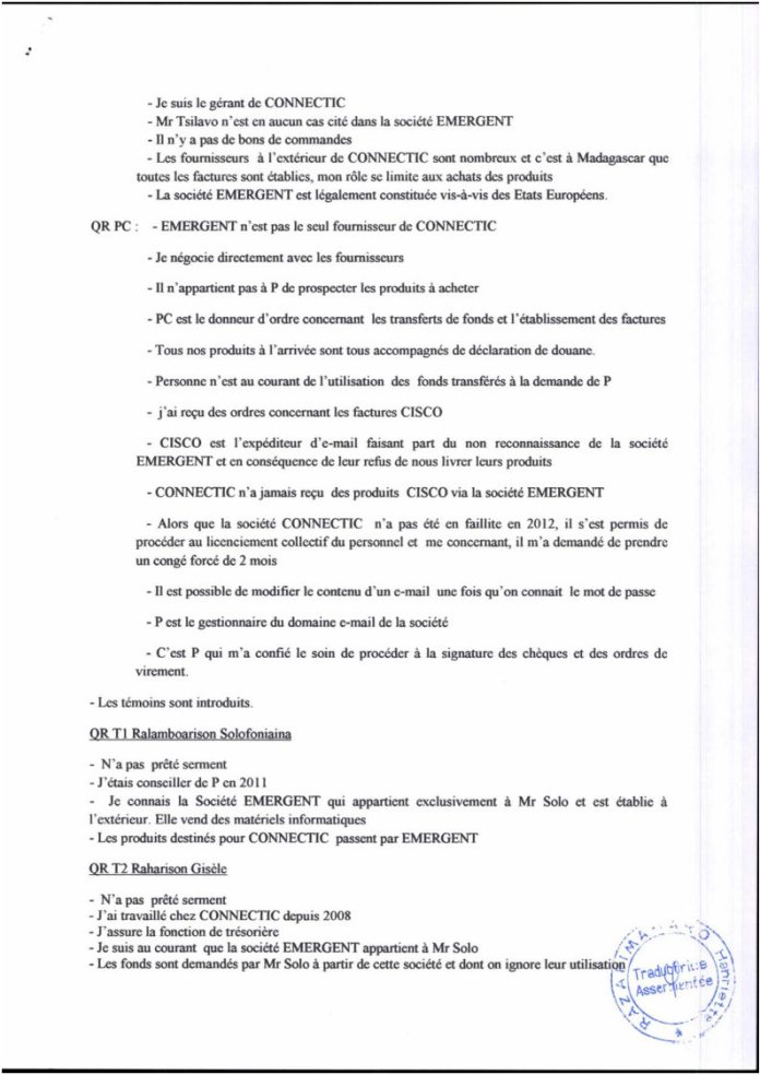"""RANARISON Tsilavo Plumitif de laudience du tribunal correctionnel dAntananarivo du 8 décembre 2015 Page5 - RANARISON Tsilavo affirme lors de l'audience du 8 décembre 2015 """"Tous nos produits à l'arrivée sont tous accompagnés de déclaration en douane""""  comme l'atteste les déclarations de la douane française"""