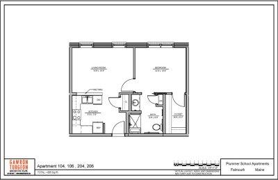 Plummer School Apartment Floor Plans 104, 106, 204 & 206